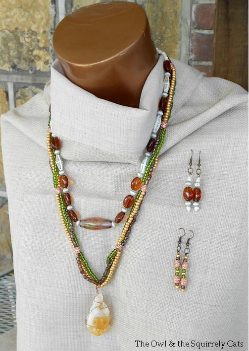 Up-cycled %26 New Single %26 Multi Strand Necklaces %26 Earrings with description cropped